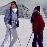 Carmen and her blond friend. Carmen and her blond friend are out for some fun on the ski slopes when Carmen is knocked over by a careless stud.
